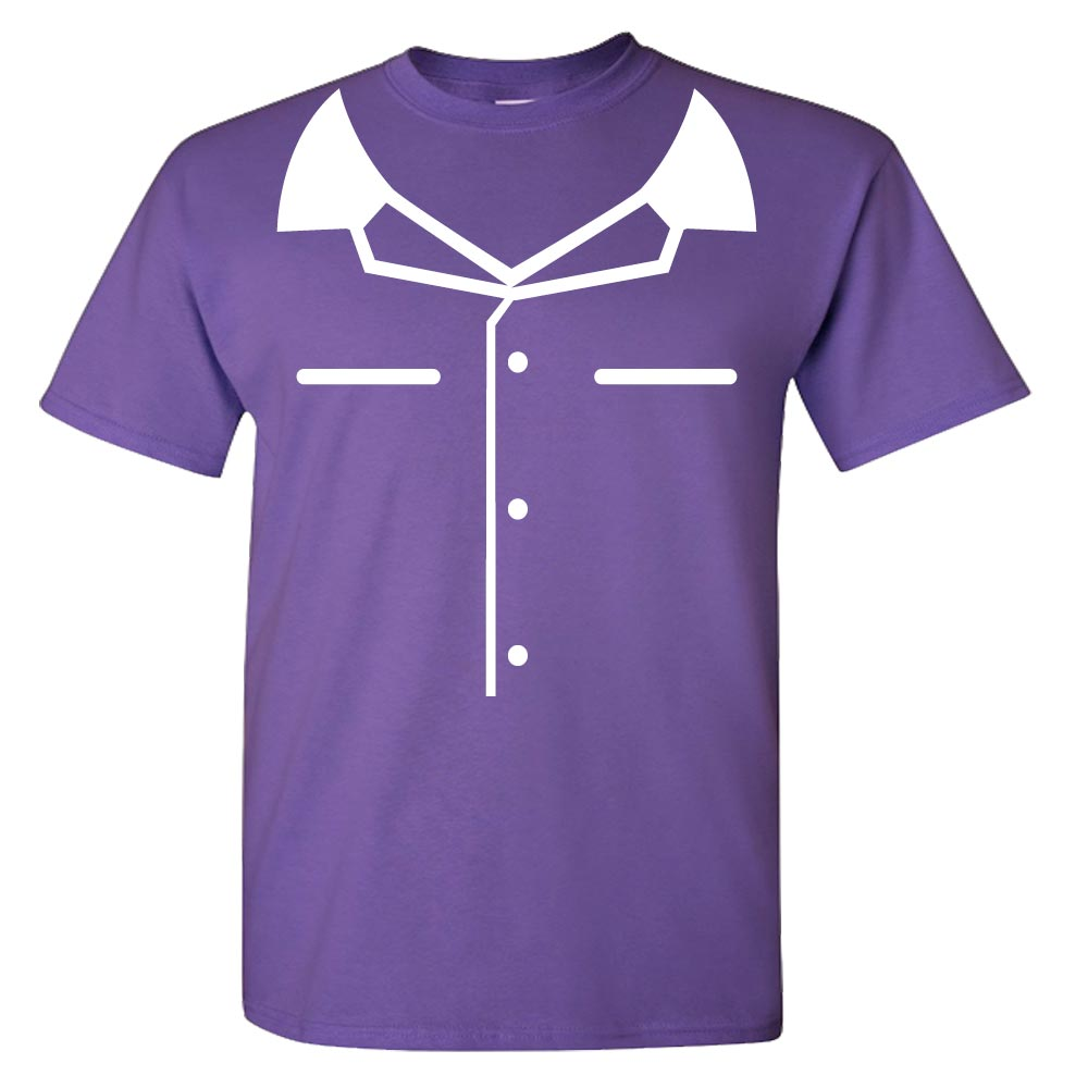 Purple Youth Mock Bowling Shirt Graphic Heavy Cotton T-Shirt