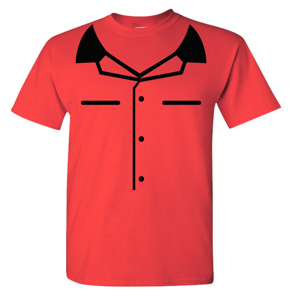 Red Youth Mock Bowling Shirt Graphic Heavy Cotton T-Shirt