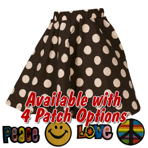 Black Polka Dot Toddler Circle Skirt with Patch