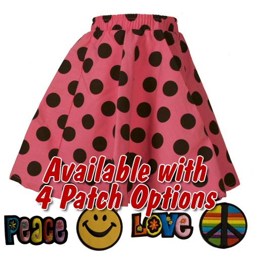 Pink Polka Dot Toddler Circle Skirt with Patch