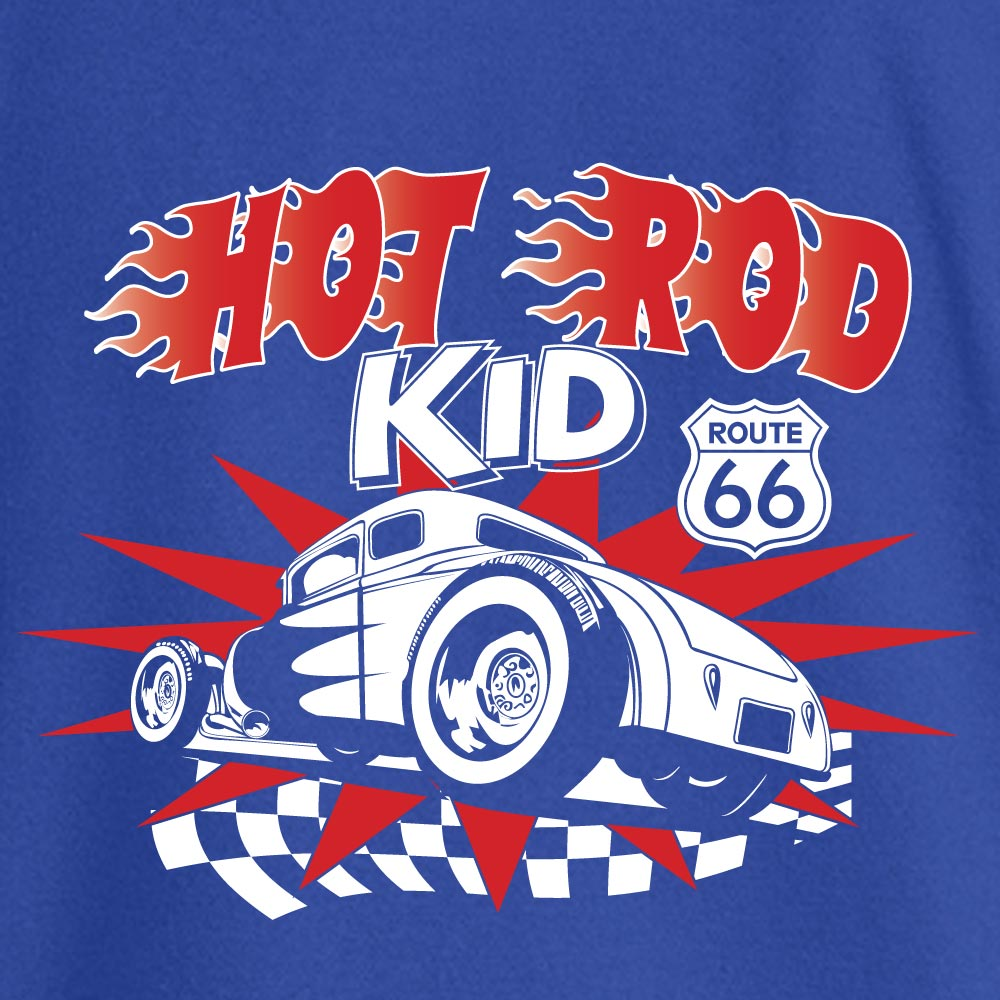 Hot Rod Kid Stock Print on Youth SpotShield Jersey Sport Shirt