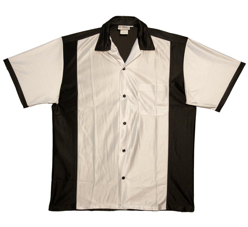 classic bowling shirt: black and white