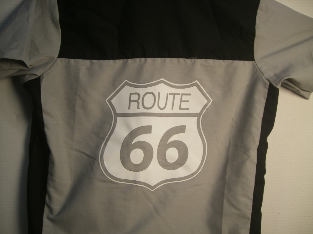 Gray/Black GARREN shirt with Large Route 66 logo on back-XL