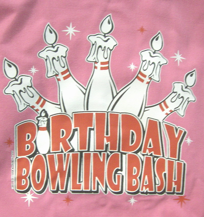 BIRTHDAY BOWLING BASH- Youth (L) Bowling Shirt-PINK Classic-NEW-Youth 14-16