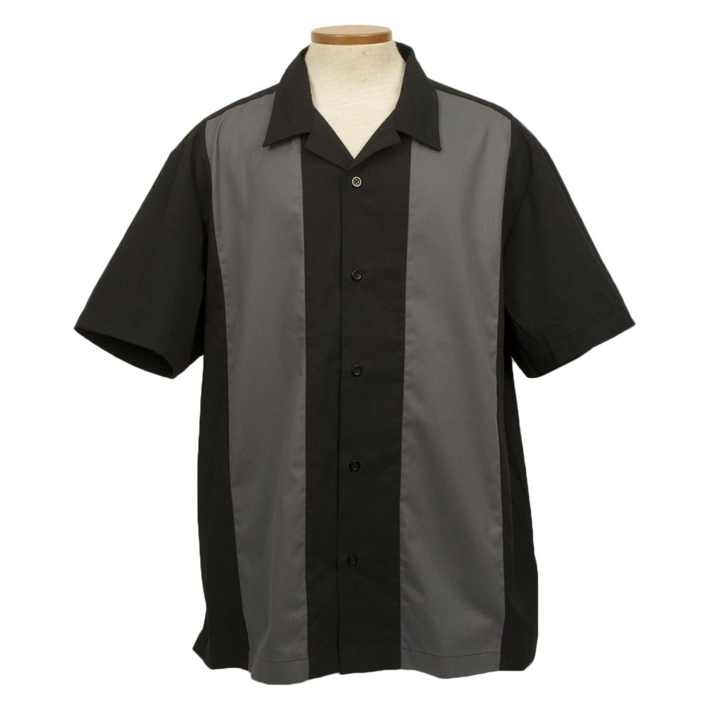 1950s Men's Clothing Player Bowling Shirt - Steel & Black $29.95 AT vintagedancer.com