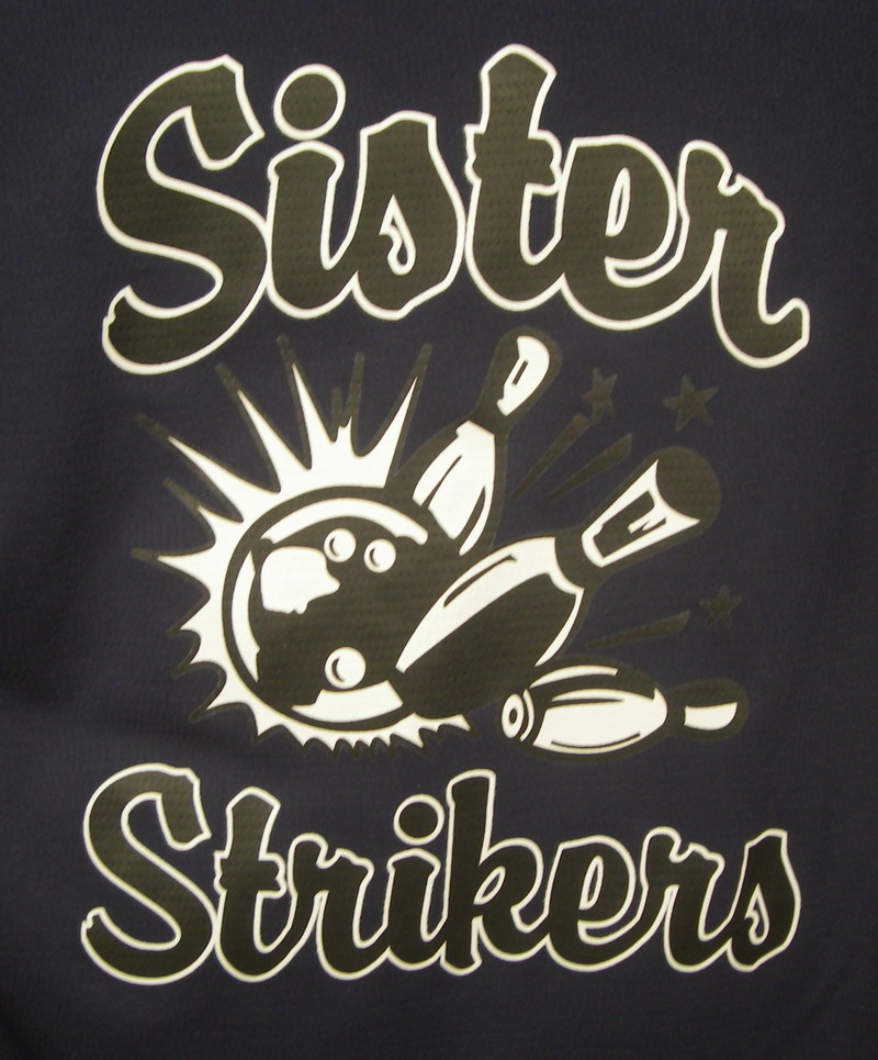 SISTER STRIKERS on NAVY/WHITE CLASSIC BOWLER-YOUTH MD