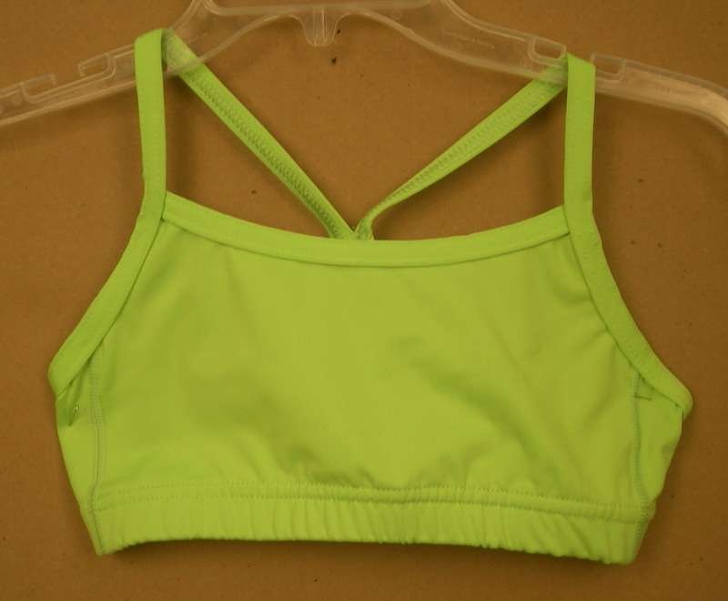 AUGUSTA SPORTSWEAR LADIES NEON YELLOW/BLUE SPORTSBRA- SMALL