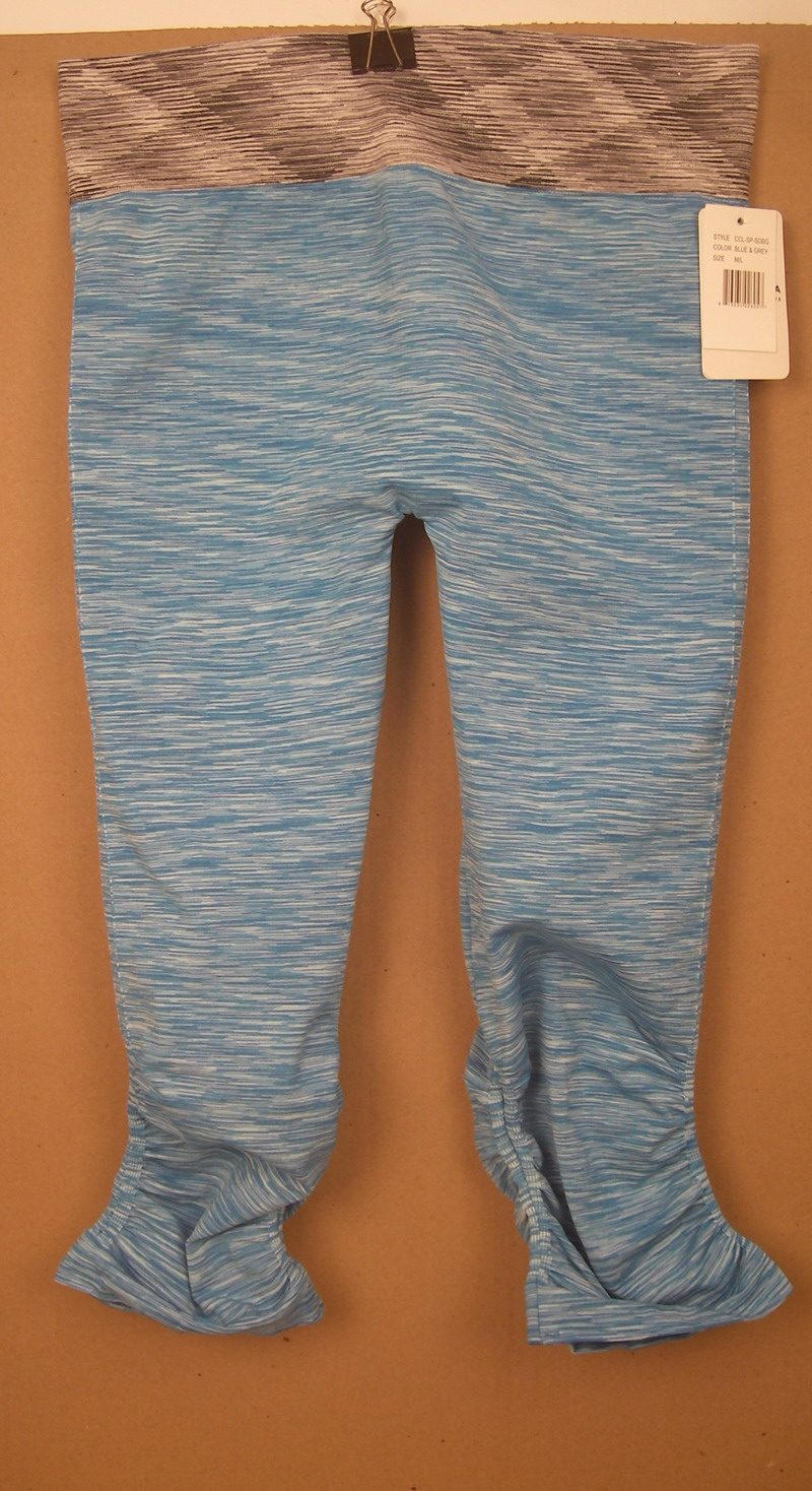 FORNIA LADIES BLUE/GREY RUCHED YOGA PANTS-MED/LG