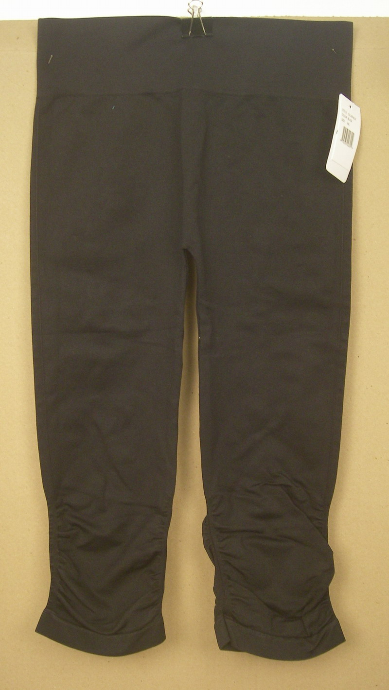 FORNIA LADIES BLACK RUCHED YOGA PANTS-MED/LG