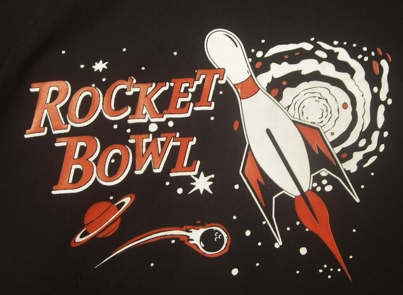 ROCKET BOWL on RED/BLACK RETRO TWO BOWLING SHIRT-YOUTH MED