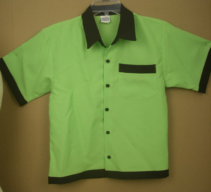 GREEN/BLACK TUTTI BOWLING SHIRT BLANK- YOUTH MED
