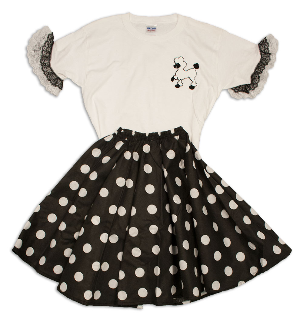 Todler Circle Skirt with Poodle Blouse With Ruffles