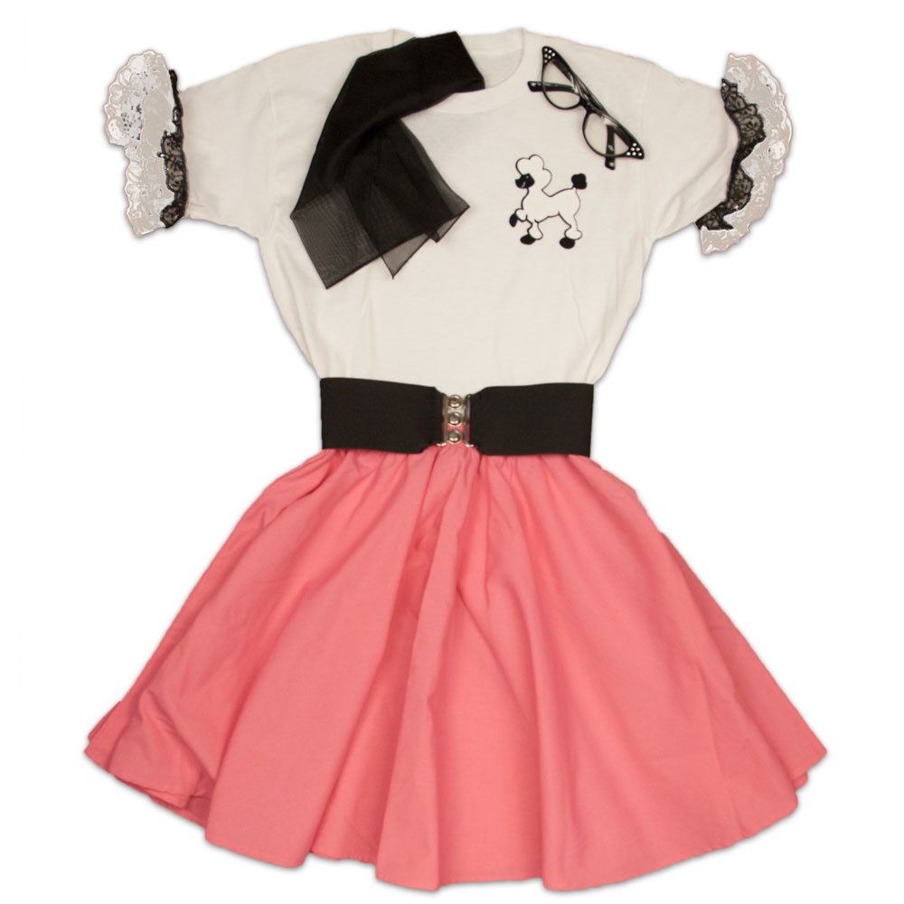 Todler Circle Skirt with Poodle Blouse With Ruffles, Scarf, Cinch Belt, Glasses (Kids glasses will come in random colors)