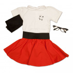 Infant Circle Skirt with Poodle Onesie,  Scarf, Cinch Belt, Glasses (Kids glasses will come in random colors)
