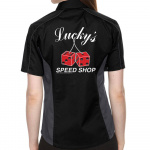 Lucky's Speed Shop Stock Print on Lady Muckler Bowling Shirt