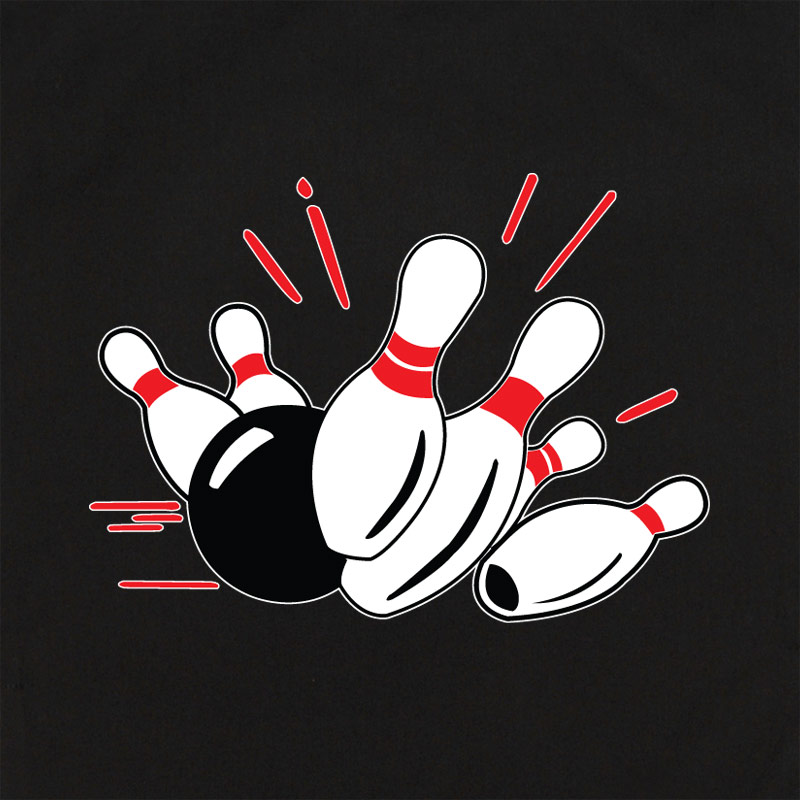 Bowling Pin Design Shirt - Black/white