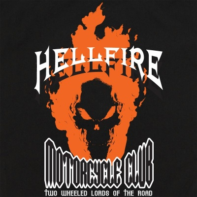 Hellfire Motorcycle Club Stock Print on Retro Bowler
