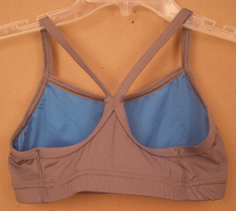 AUGUSTA SPORTSWEAR LADIES GREY/BLUE SPORTSBRA- SMALL