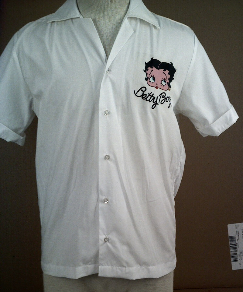 RETRO BETTY BOOP on WHITE VINTAGE BOWLING SHIRT-SM