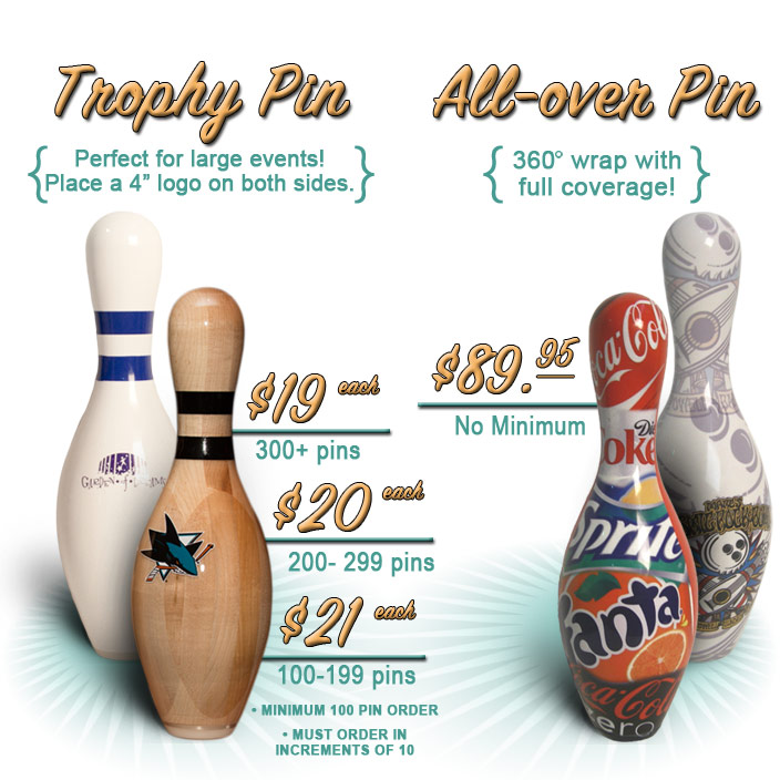 Custom bowling pins are just $89.95 each